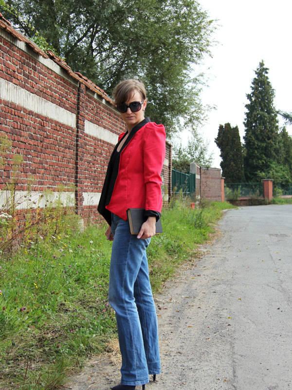 veste dandy rouge manches longues bouffante,