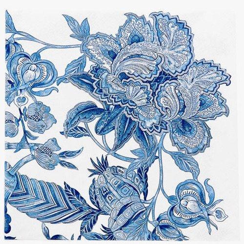 Serviette en papier motif fleur et feuillage stylisé bleu et blanc - paisley