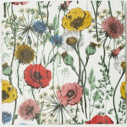 Serviette En Papier Motif Coloré Dessin Fleurs Des Champs Prairie Sur Fond Blanc