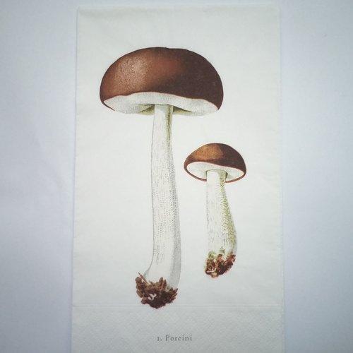 Serviette en papier motif 2 beaux cèpes sur fond blanc