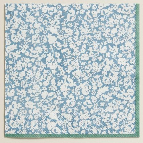 Grande serviette en papier motif petites fleurs blanches - liberty - paisley