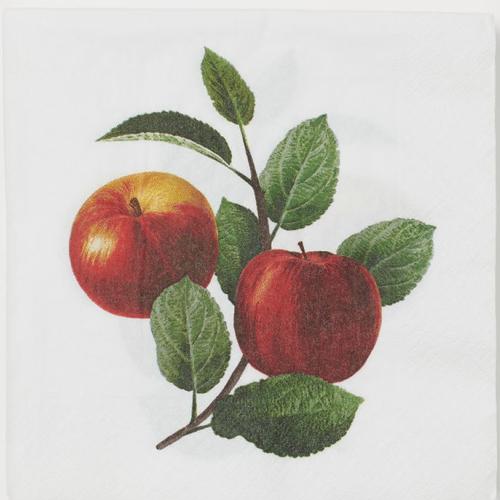 Serviette en papier motif belles pommes avec feuilles