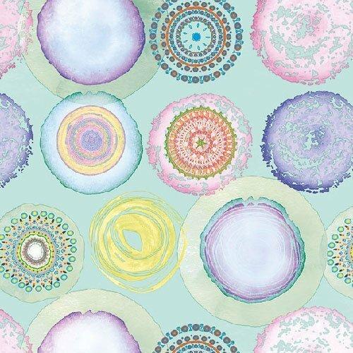 Petite serviette en papier (cocktail) motif hippies  - paisley - ronds cerclestons pastels délavés