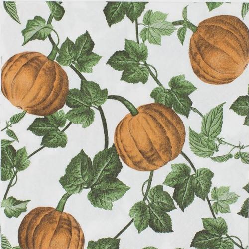 Serviette en papier motif citrouille et feuillage sur fond blanc