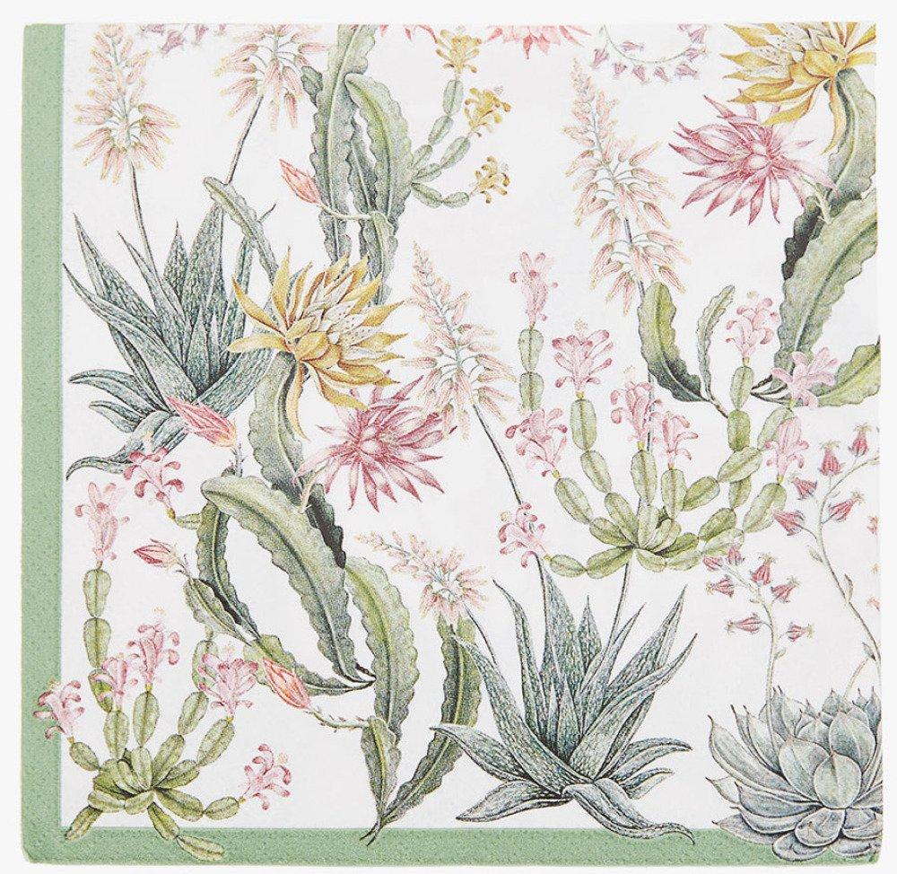 Serviette en papier motif divers cactus fleuris sur fond blanc