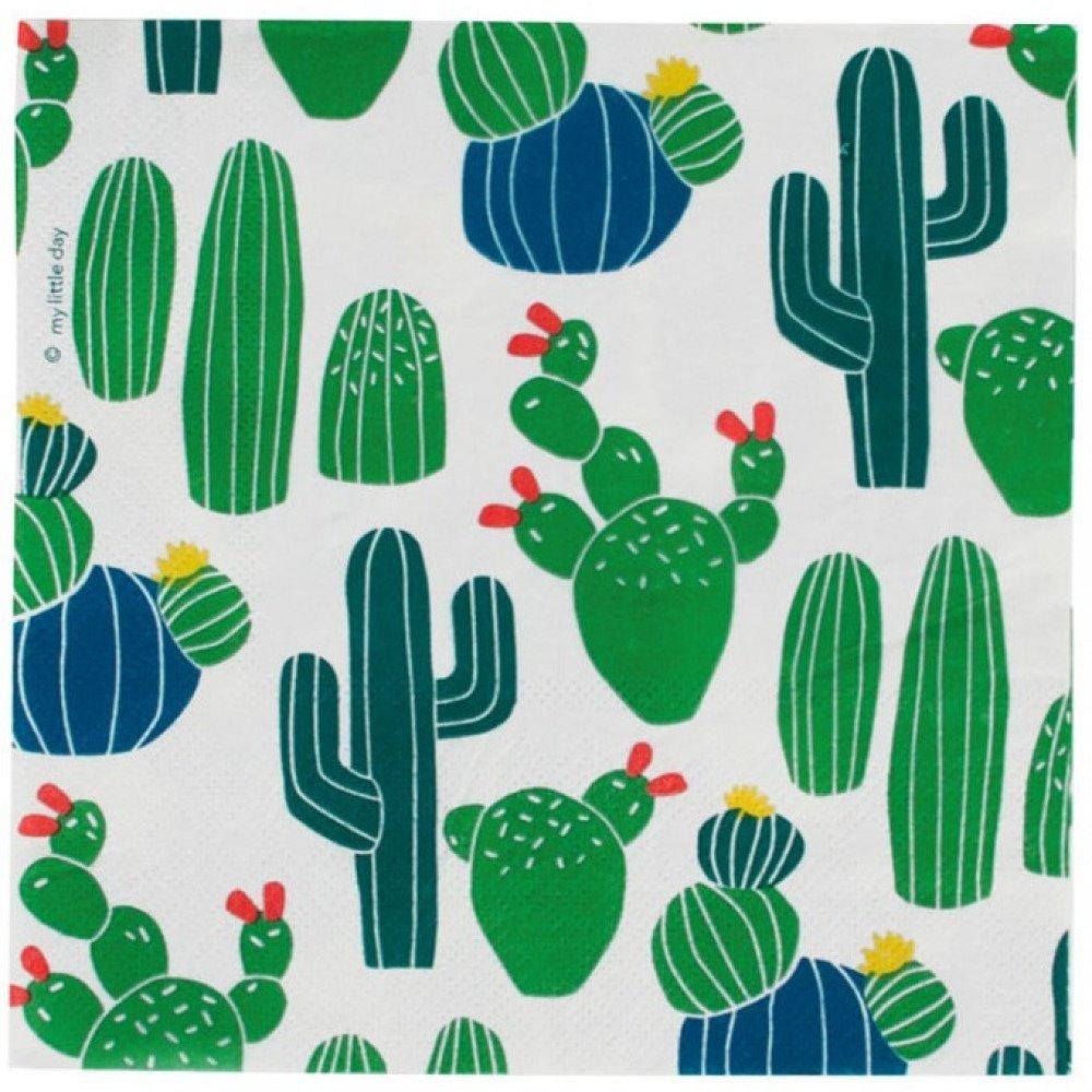 Serviette en papier motif divers cactus verts et bleus sur fond blanc