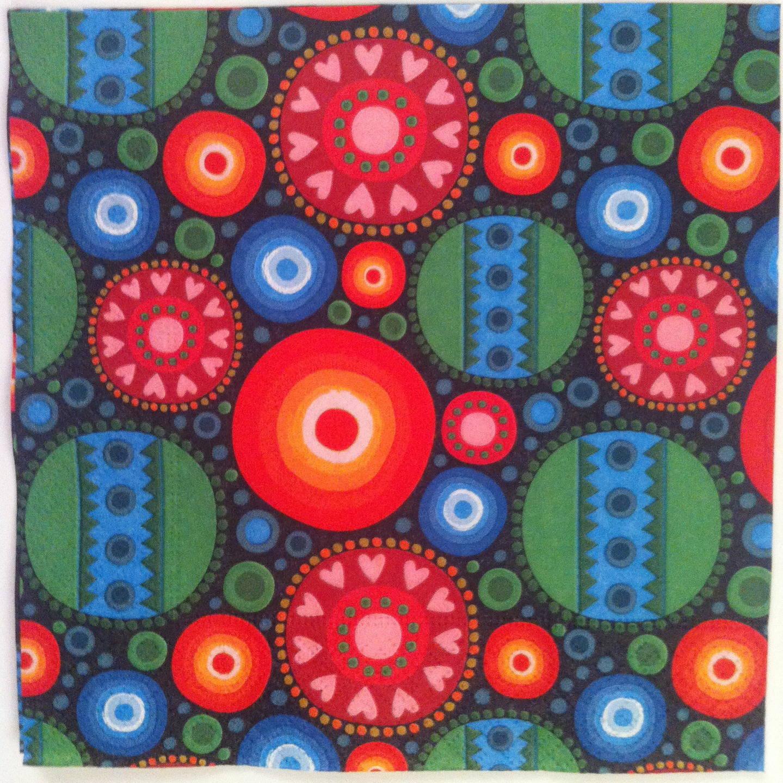 Serviette en papier motif coloré de figures géométrique rondes - fleurs slave