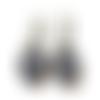 Boucles d'oreilles dormeuses motif japonais, boucles bleues, blanches, japon, vagues