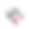 Boucles d'oreilles créoles turquoise, anneaux,, email goutte rose, boucles pendantes, bijoux coloré, bijou turquoise, cabochon verre
