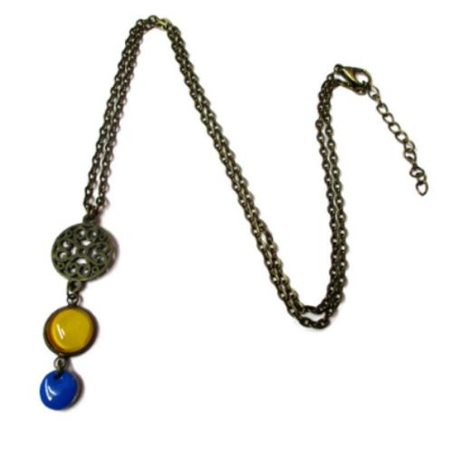 Collier jaune, bijoux jaunes, email bleu, sautoir boheme, collier été, cabochon