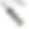 Collier bleu et blanc, email blanc, sautoir mandala , sautoir bleu,