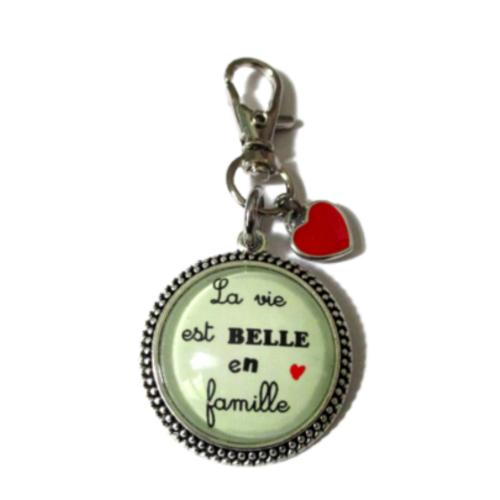"""Porte clé """"la vie est belle en famille"""", porte clé pour la maison,"""