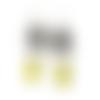 Boucles d'oreilles fleurs vintage sur fond noir, boucles créoles, anneaux, motif floral, email jaune, boucles pendantes, fleurs pastel