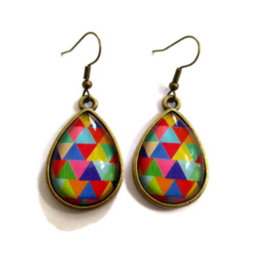 Boucles triangles arc en ciel - boucles pendantes, boucles gouttes multicolores