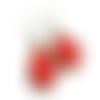 Boucles d'oreilles gouttes pois rouge et blanc, boucles rétro