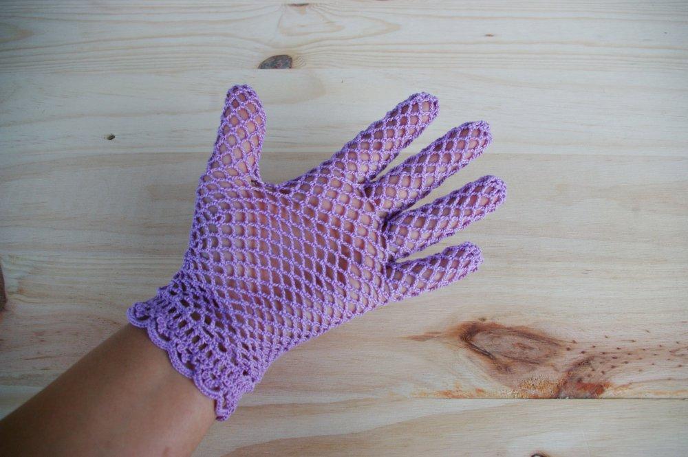 gants en dentelle au crochet et perle en cristal de swrovski