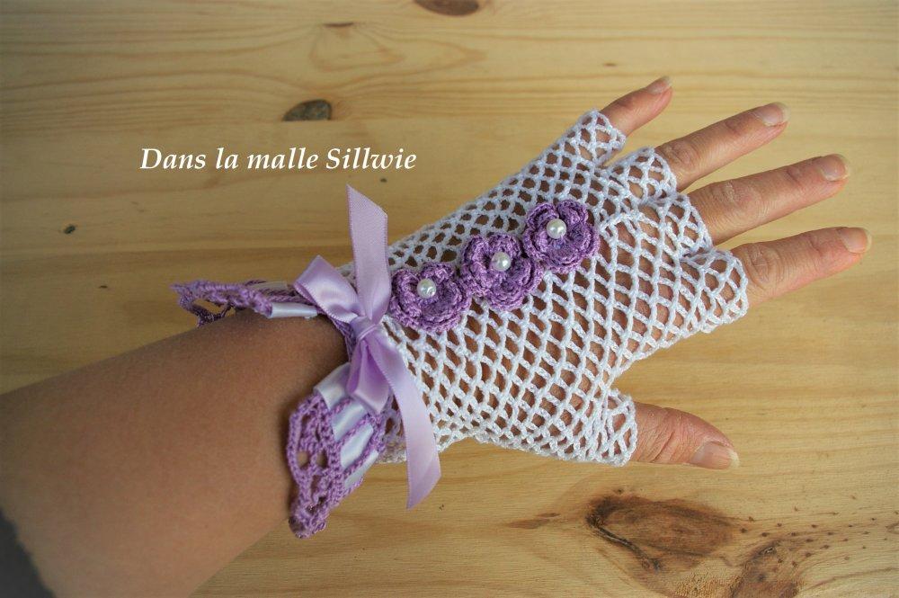 mitaines gants en dentelle au crochet