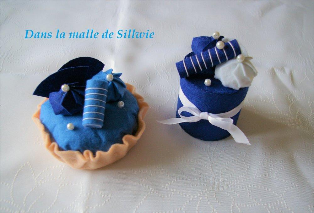 lot de gateaux patisserie bleus en feutrine pour dinette
