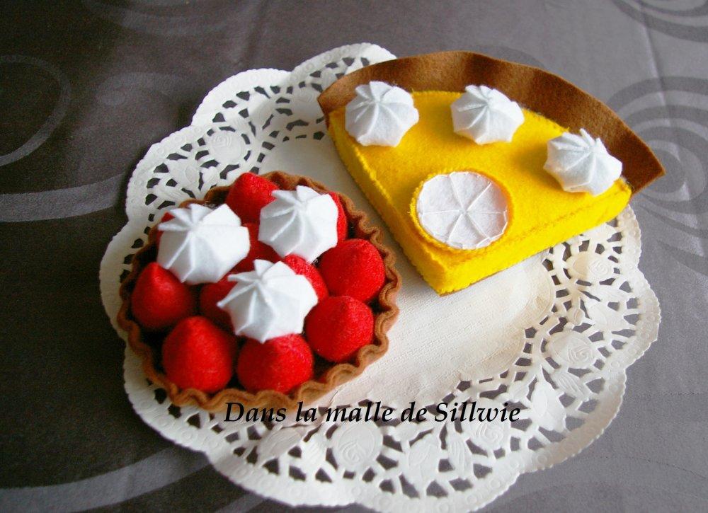 patisserie tartelette fraise et citron en feutrine pour dinette