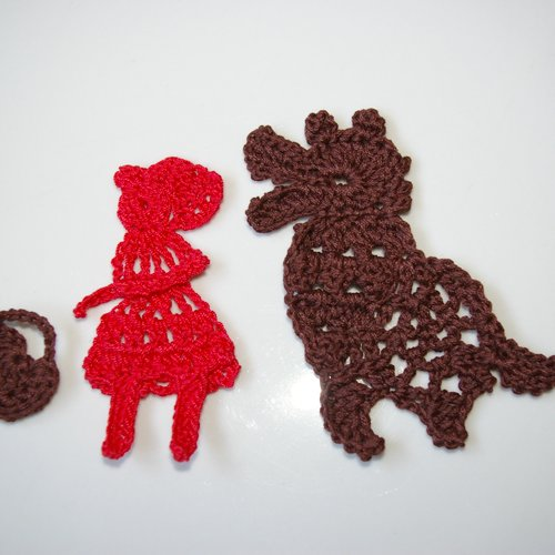 Kit scrapbooking embellissement au crochet le petit chaperon rouge et le loup