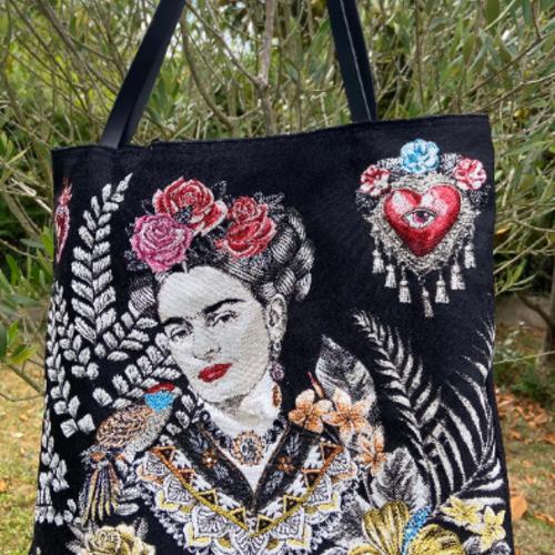 Sac cabas tote égérie stylé et original en tissu jean's noir jacquard gobelin portrait de frida kahlo anses cuir