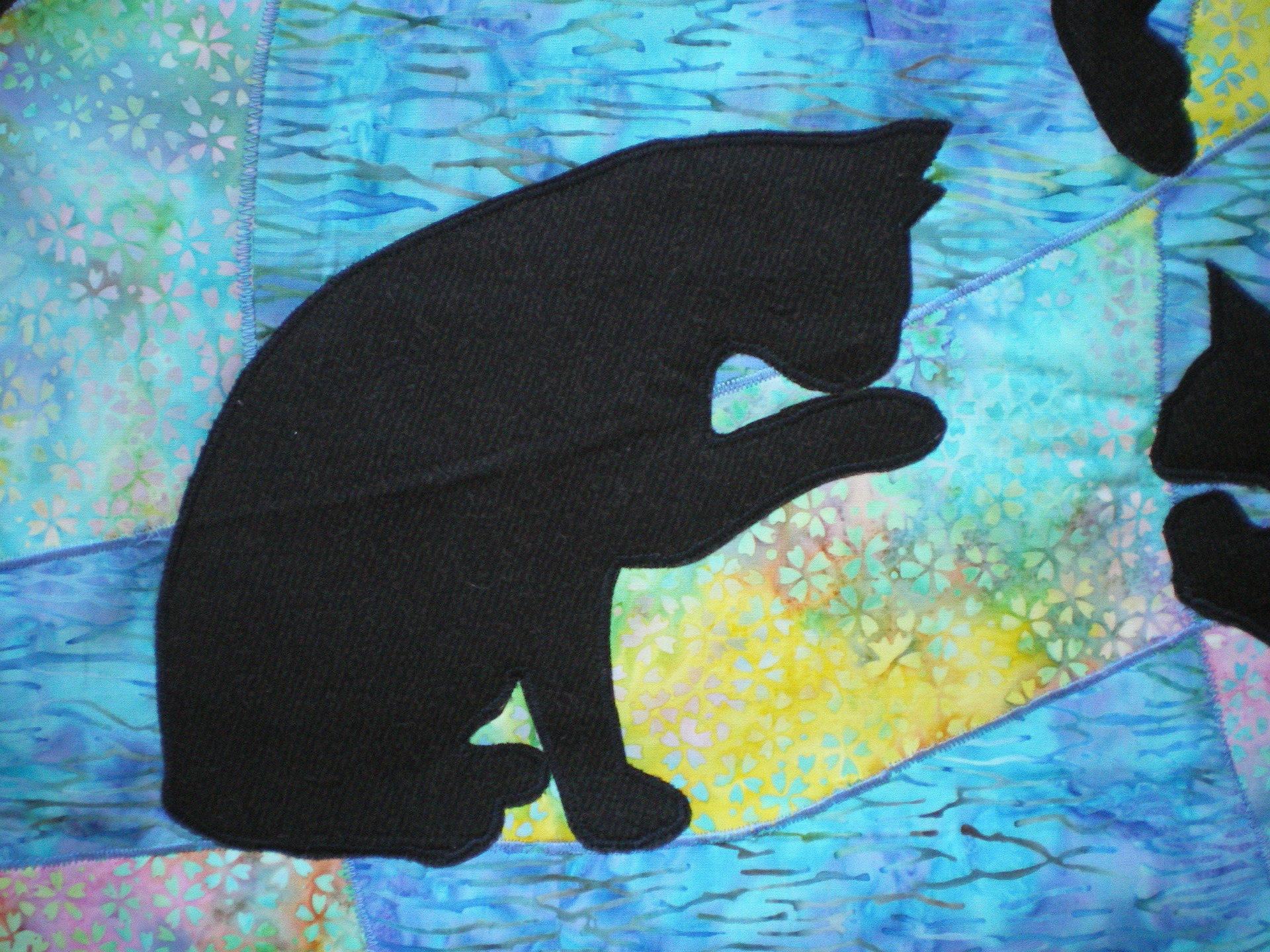 panneau patchwork, plaid, une vie de chat