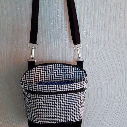Petit sac bandoulière, en tissu patchwork pied de poule, multipoches, idéal  voyage