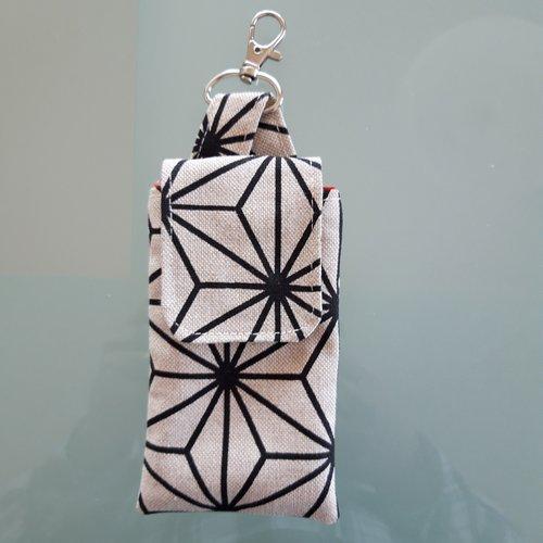 Etui pour gel hydro-alcoolique, style porte-clé en toile beige/noire avec mousqueton