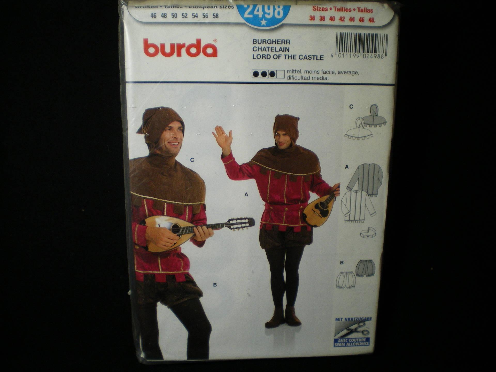 Patron Burda n° 2498 déguisement adulte chatelain