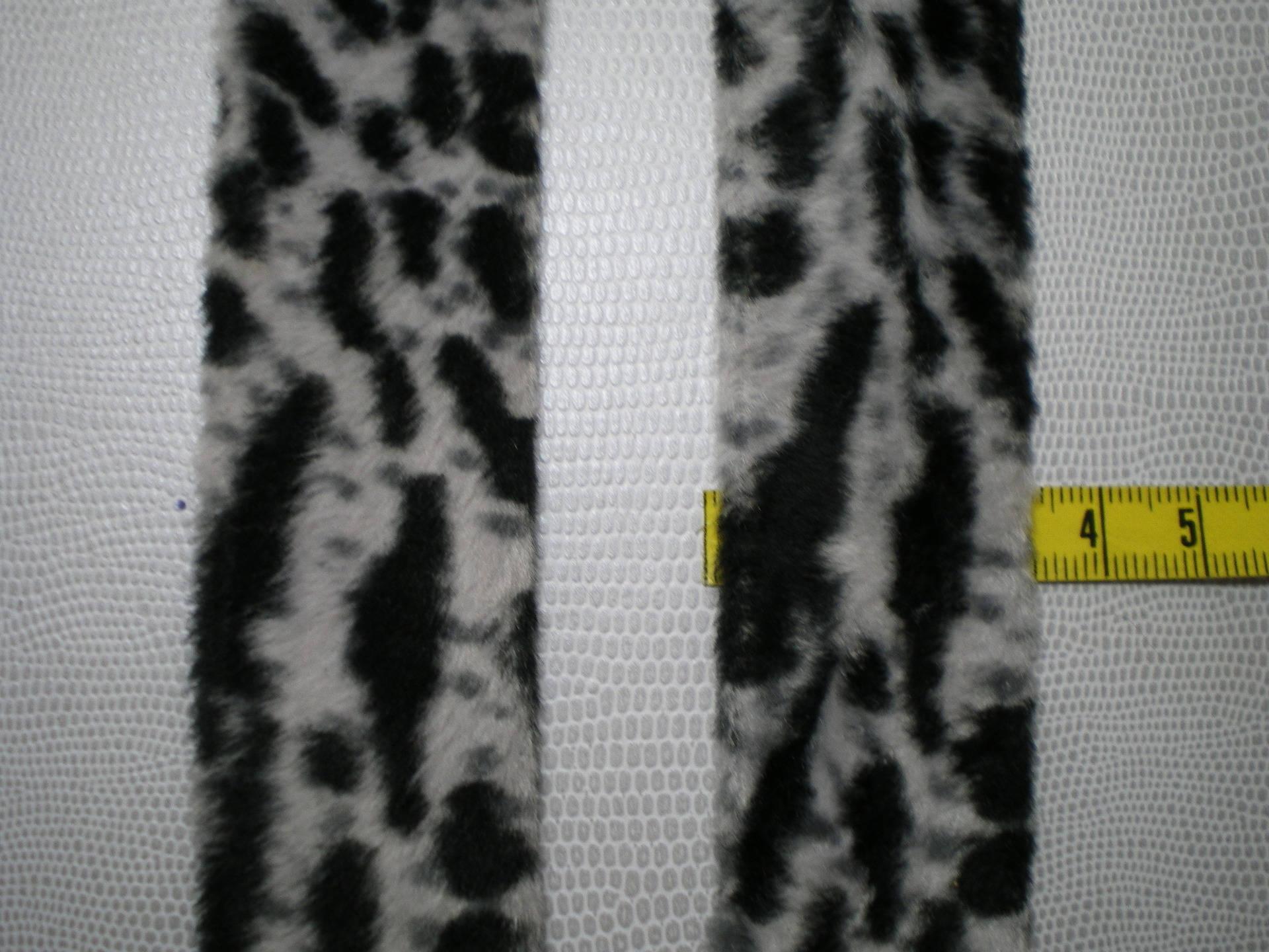 Galon style biais pré-plié motif animalier polyester noir/blanc/gris