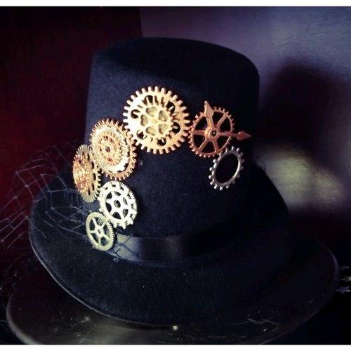 Mini chapeau mini hat bibi steampunk engrenages gothique vintage fait main modèle unique