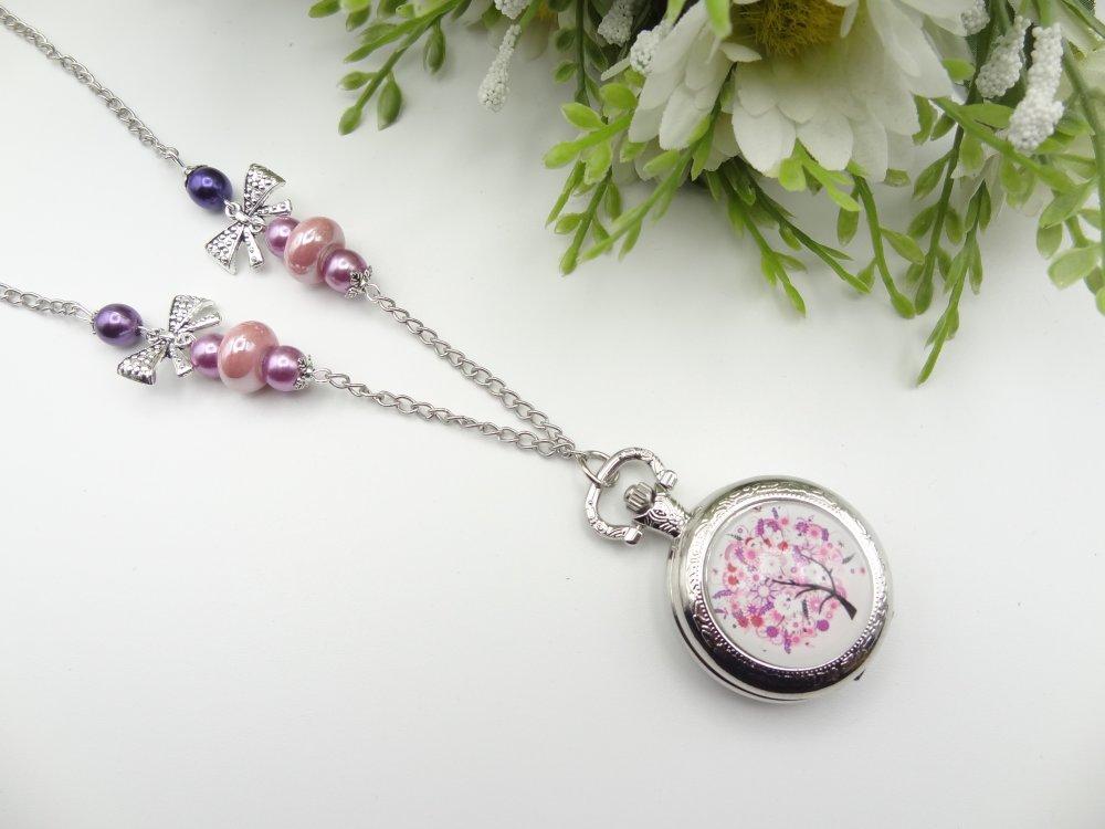 collier montre femme