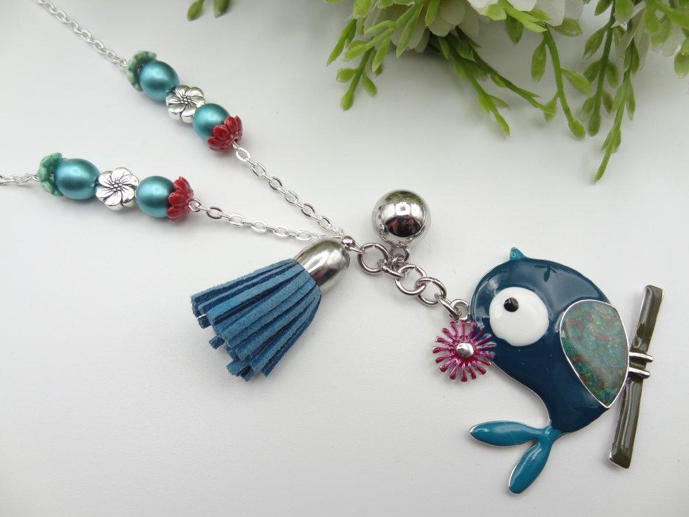 collier femme, pendentif oiseau