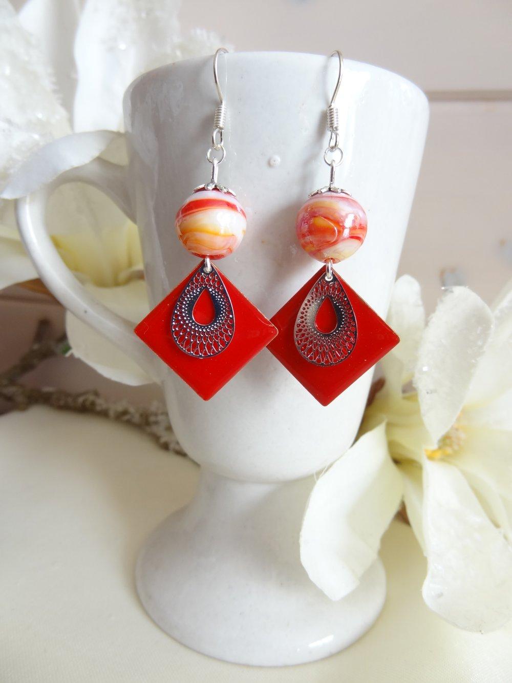 boucles d'oreilles fantaisie rouges