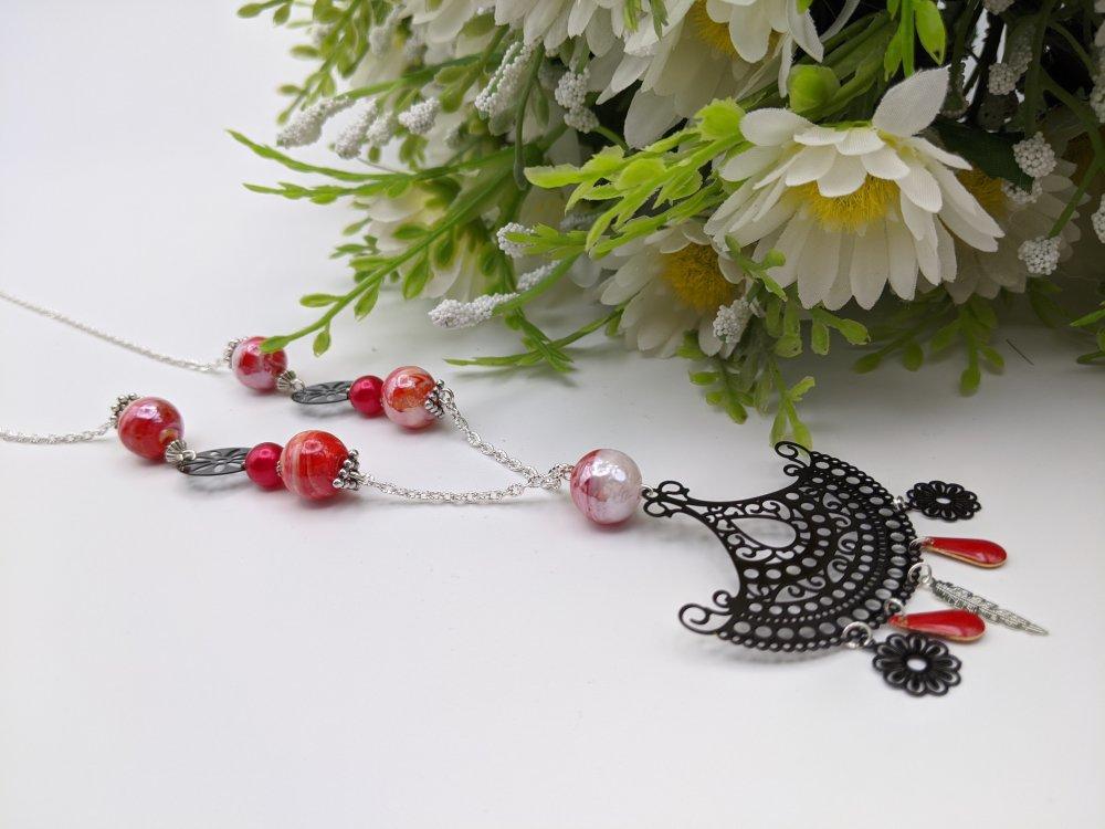 collier femme pendentif noir et perle rouge