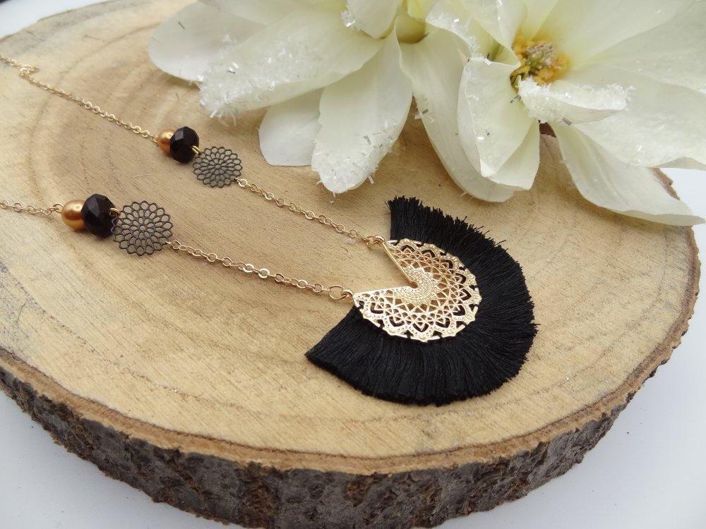 collier femme pendentif noir