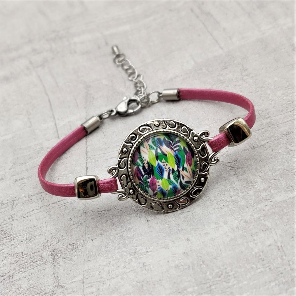 Bracelet simili cuir rose connecteur cabochon multicolore