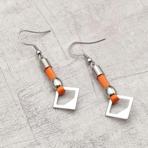 Boucles d'oreilles simili cuir oranges