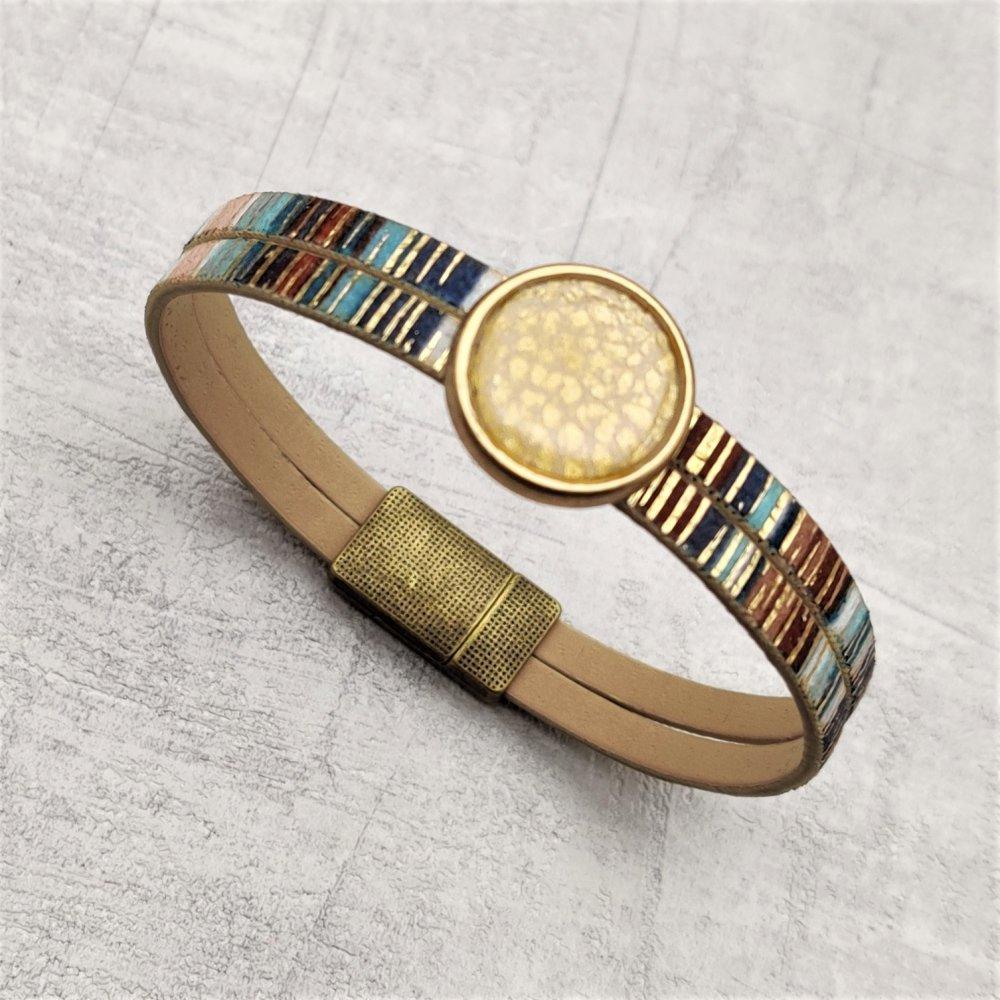 Bracelet simili cuir multicolore cabochon bronze doré