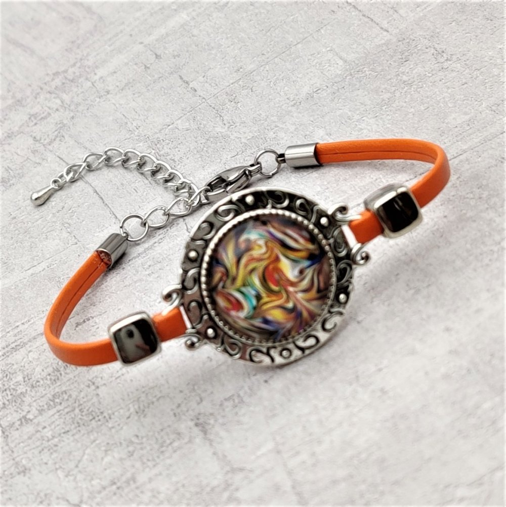 Bracelet cuir orange cabochon multicolore