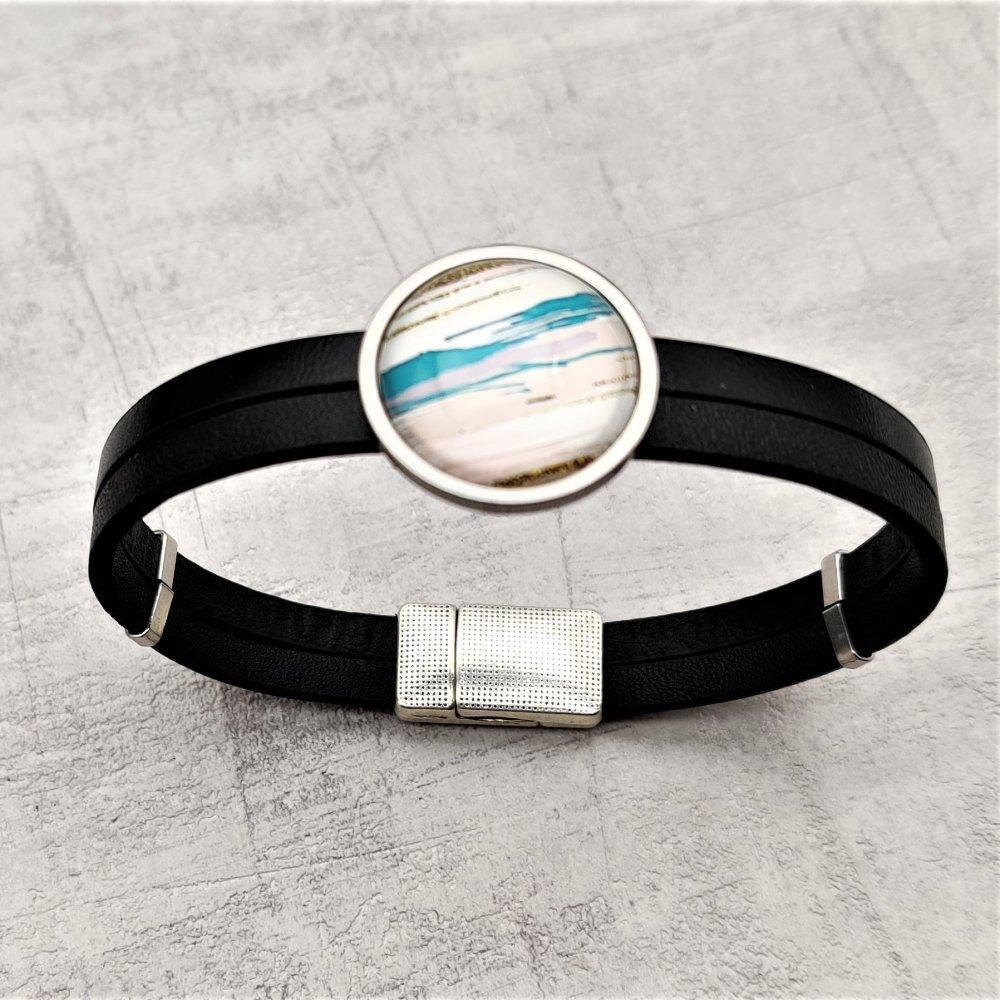 Bracelet simili cuir noir connecteur cabochon rond verre rayé