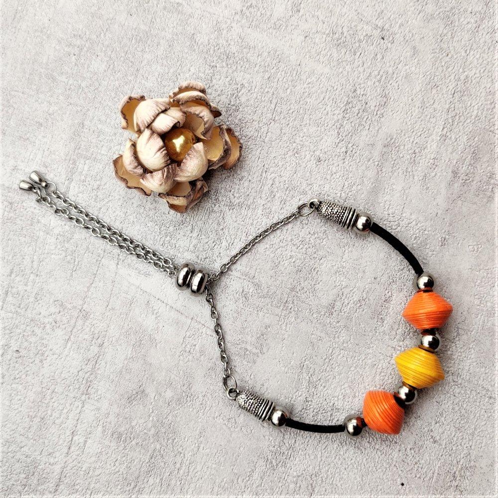 Bracelet noir perles oranges et jaune