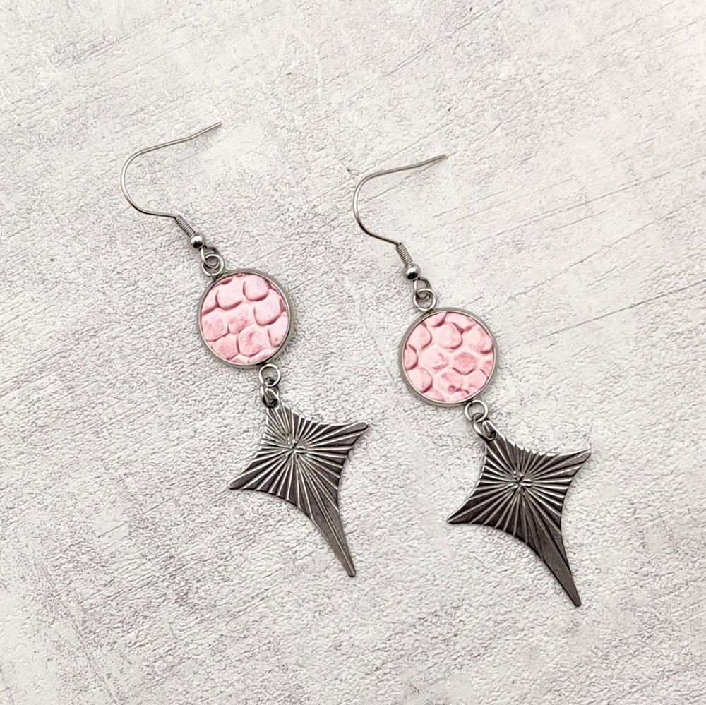 Boucles d'oreilles acier inoxydable simili cuir rose