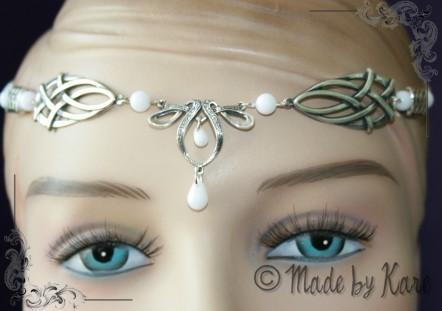 Diadème Elfique Celtique Medieval Blanc Mariage