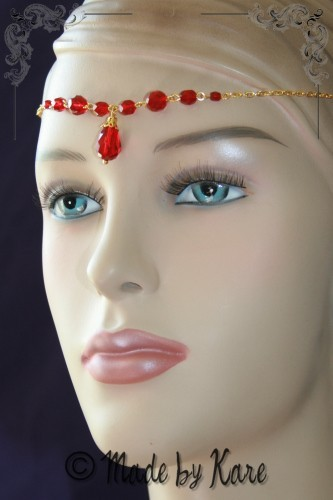 Diadème Collier Victorien Féerique Rouge/Doré Mariage Headband