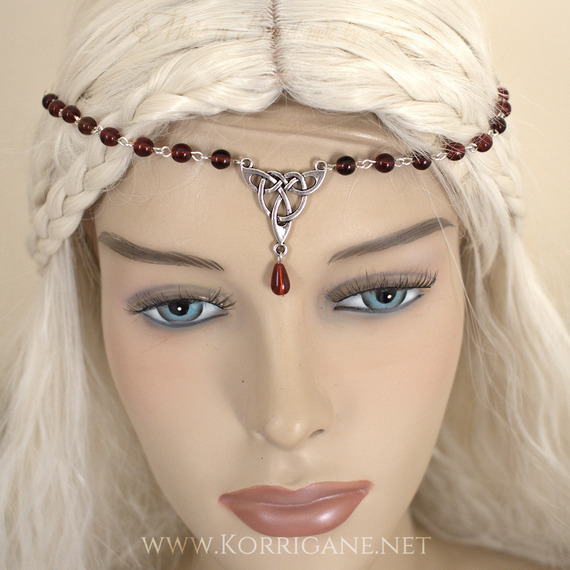 Diademe ou Collier Tiare Celtique Rouge HeadBand