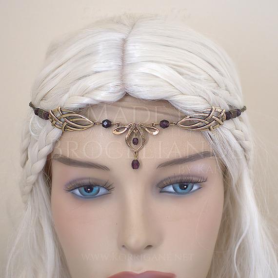 """""""Érin"""" Diadème Elfique Celtique Medieval Bronze Améthyste"""