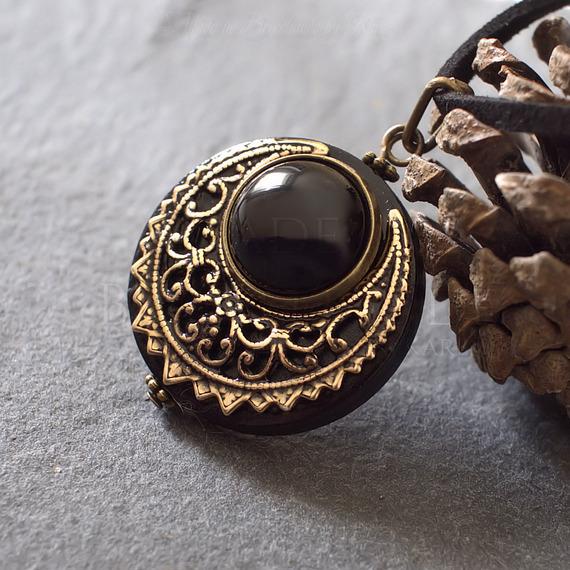 Amulette Collier de Protection Agate Lune Wicca Paien Talisman - en bois et pierre fine
