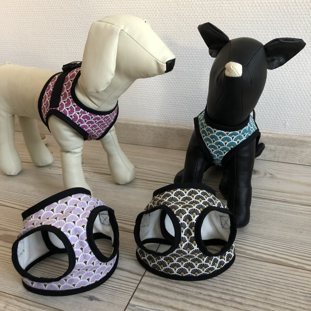 Harnais à fermeture dorsale à motifs éventails pour chien