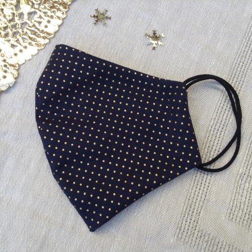 Masque de protection lavable, taille adulte, en coton bleu marine à pois doré, forme ergonomique, idéal pour noël et les fêtes